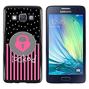 LECELL--Funda protectora / Cubierta / Piel For Samsung Galaxy A3 SM-A300 -- Heart Polka Dot Pink Black Text --