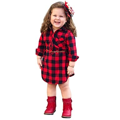 902624a06cb Amazon.com  ❤ Mealeaf ❤ Toddler Infant Dress Baby Girls Plaid Long Sleeve  T-Shirt Dresses Tutu Skirt Clothes 0-4 Years  Clothing