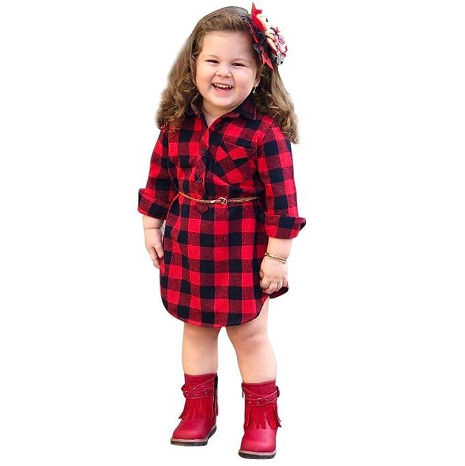 Pinklu Vestido De Manga Larga con Estampado De Tela Escocesa De Princesa Vestido + CinturóN De Dos Piezas para NiñOs Infantil BebéS NiñAs ImpresióN A ...