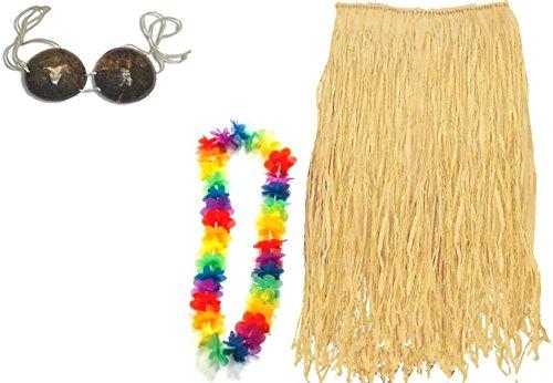 Hawaiian Costume Coconut Bra (Forum Women's 6-Piece Luau Set: Skirt, Multi, One Size)