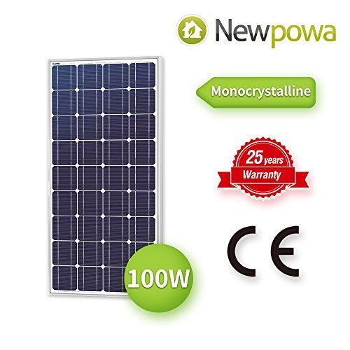 Newpowa 100 Watt Monocrystalline 100W 12V Solar Panel High Efficiency Mono Module RV Marine Boat Off Grid by Newpowa