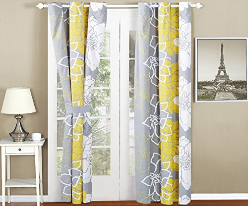 All American Collection New 4 Piece Printed Curtain Set For Reversible Bedspread Set with Dust Ruffle Collection Dust Ruffle