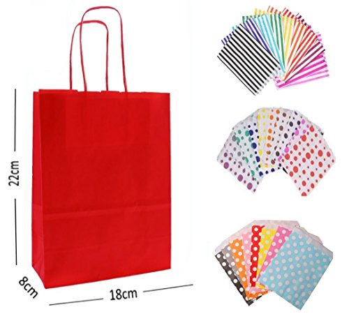 10 x RED PARTY PAPER GIFT BAGS – WITH MATCHING CANDY STRIPE SWEET BAG