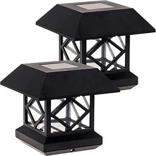 GreenLighting Outdoor Summit Solar Post Cap Light for 4x4 Wood Posts 2 Pack (Black)