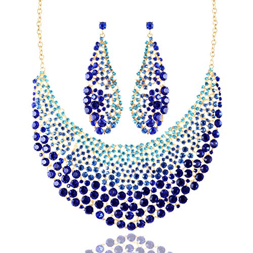 (LAN PALACE Glass Rhinestone Bridal Jewelry Set Necklace and Earrings for Party Fashion Gifts for Women Girls (Royal Blue))