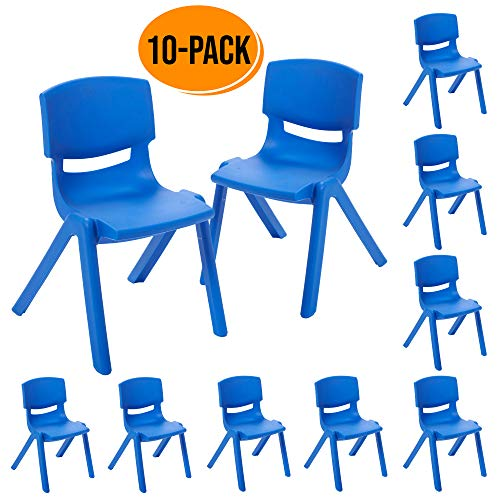 ECR4Kids 12 inch Plastic Stackable Classroom Chairs, Indoor Outdoor Resin Stack Chairs for Kids, Blue 10-Pack
