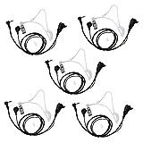 Xunbin 1 Pin Covert Acoustic Tube Earpiece Headset for Motorola MD200TPR MH230R MR350R MS350R MT350R MG160A MH230TPR MS350R MJ270R COBRA Talkabout Walkie Talkie Two Way Radio (5 PACK)