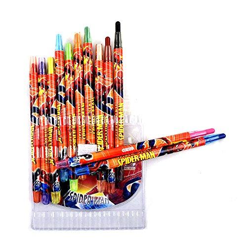 Shoppertize Spiderman Colorful Twistup Rolling Crayons Pen for Kids (Set of 12 Colours)
