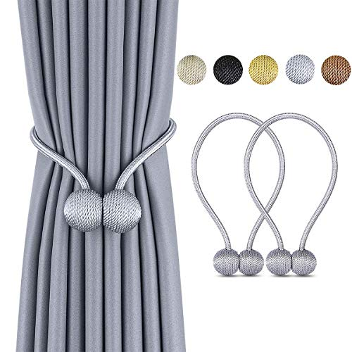 Drapery Holdbacks - Deluxe Magnetic Curtain Tiebacks with Unique Wooden Balls, 2 Pack Decorative Drapery Holdbacks Rope Holder for Home Kitchen Office Window Sheer Blackout Drapes, Silver Gray