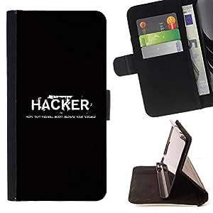 BullDog Case - FOR/Samsung Galaxy A3 / - / Funny Hacker Deep Message /- Monedero de cuero de la PU Llevar cubierta de la caja con el ID Credit Card Slots Flip funda de cuer