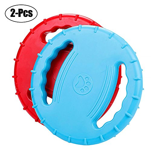 Cheap Rubber Dog Frisbee,Tough Training Flying Disc Play Toy For Dog To See-8inch Large-Color Blue/Red(2 pack)