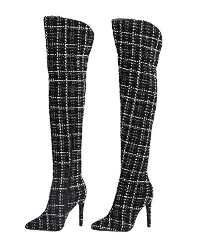 - Stupmary Women's Over The Knee Boots Glitter Pointed Toe Stilleo Heels Winter Boots Thigh High Bootie Zipper White