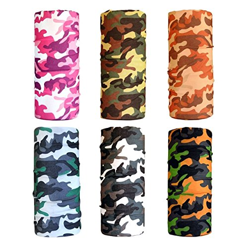 Outdoor Designs Silk Balaclava - Cool Pack of 6 Pcs Seamless Style Camo Bandanna Headwear Scarf Wrap Neck Gaiters. Perfect for Running & Hiking, Biking & Riding, Skiing & Snowboarding, Hunting, Working Out & Yoga for Women and Men (Color 9)