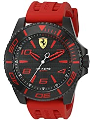 Scuderia Ferrari Mens XX Kers Quartz Stainless Steel and Silicone Casual Watch, Color:Red (Model: 0830308)