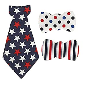 """[3 Count Set] Custom and Unique (2.25"""" - 7.5"""" Inches) Patriotic Stars & Stripes Independence Day July 4 Baby Boys Shirt Onesie Bow Ties Iron On Embroidered Applique Patch {Red, White & Blue Color}"""