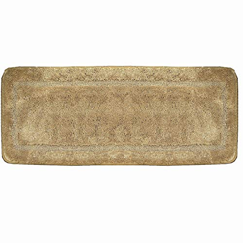 Hihome Microfiber Bath Rugs Rubber Backing Non-Slip Bedroom Rugs and Mats Tan Beige Kid's Bathtub Shower Rugs (18 x 47, Tan)