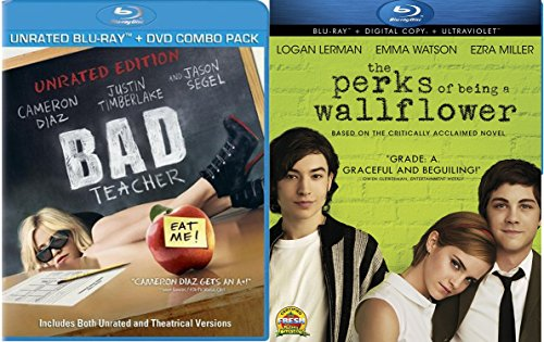 Perks of Being a Wallflower Blu Ray + Bad Teacher Blu Ray + DVD Cameron Diaz Fun Comedy movie Set Combo Edition