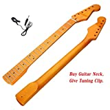ULKEME New 22 Fret Maple Wood Electric Guitar Neck For ST Parts Replacement Smooth Surface +Give Guitar Acoustic Clip