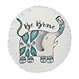 KESS InHouse Pom Graphic Designbe Brave Teal Typography Round Beach Towel Blanket