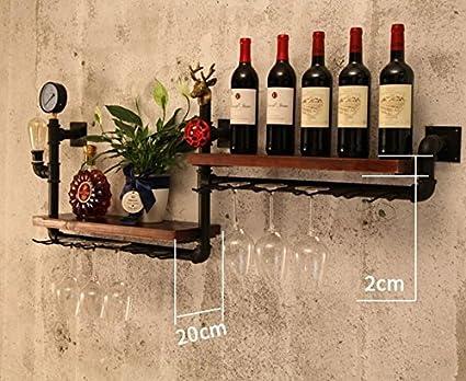CCJW Colgante de Pared para Estante de Vino para Bar Gabinete de Vino Loft Iron Wine Rack Retro Industrial Wind Wall Pipe Storage Shelf Color : A