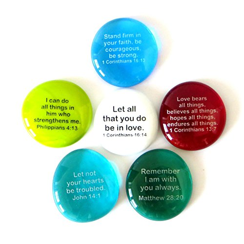 Yoga Rocks - Scripture Glass Stones, Six of Your Favorite Inspiring Bible Verses on Translucent and Opaque Rocks, by Lifeforce Glass.Set III.