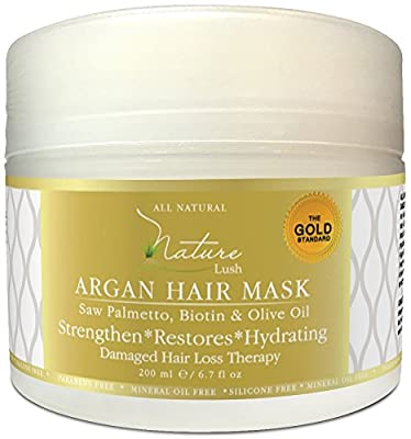 Nature Lush Argan Hair Mask with Saw Palmetto, Biotin and Olive Oil - Deep Conditioner - Restore Dry, Damaged or Color Treated Hair, Best for All Hair Types - Parabens & Silicones Free - 6.7 fl oz.