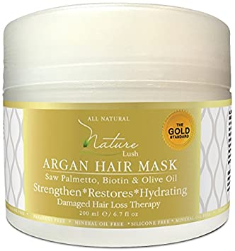 Best Organic ARGAN Hair Mask with Biotin Olive Oil Natural Ingredients – Restore Damaged Color Treated Hair, All Hair Types Deep Moisturizer – Parabens Silicones Free – 6.7 fl oz
