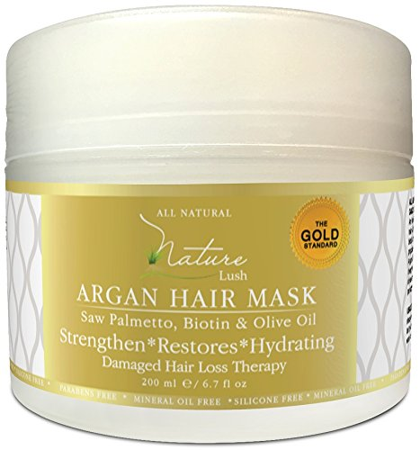 Best Organic ARGAN Hair Mask with Biotin & Olive Oil - Natural Ingredients - Restore Damaged Color Treated Hair, All Hair Types - Deep Moisturizer - Parabens & Silicones Free - 6.7 fl oz
