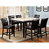Marion Espresso Finish 7-Piece Marble Top Counter Height Dining Table Set