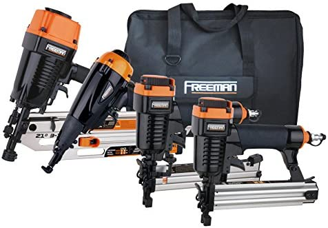 Freeman P4FRFNCB Pneumatic Framing Finishing Combo Kit with Canvas Bag 4Piece Nail Gun Set with Framing Nailer, Finish Nailer, Brad Nailer, Narrow Crown Stapler