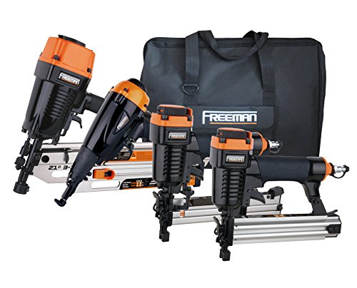 Freeman P4FRFNCB Framing / Finishing Combo Kit with Canvas Bag 4-Piece Pneumatic Nail Gun Set of 4 with Framing Nailer, Finish Nailer, Brad Nailer & Narrow Crown Stapler