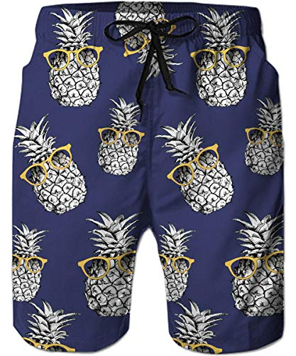 TUONROAD Quick Dry Boardshorts Navy Blue Purple Monochrome Pineapples Ananas Sunglasses 3D Printed Beach Shorts Casual Style Surfing Board Shorts Toddler Swim Trunks Swimming Gift for Mens Boys ()