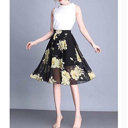 Jupe Soie Fashion Sexy De Mousseline En lastique La Taille Plus De Plisse Imprimvas Jupes Fleur Jupes Plage Black Femmes Taille Bohme Lady q7wt8ppzx