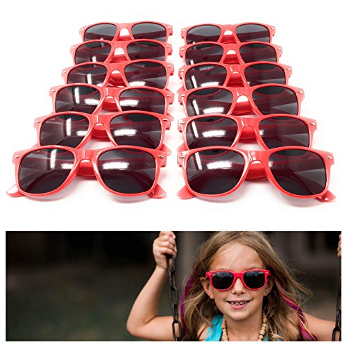 Red Kids Sunglasses (12 Pack) – 100% UV Protection for The Beach, Pool and Outdoor Activities - Reduces Glare and Eye Strain - Wayfarer Style Glasses - Best for Party - Aviator Meaning Sunglasses