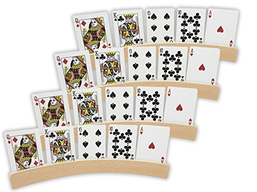 Wooden Playing Card Holders (Da Vinci 14 Inch Curved Wooden Playing Card Holders in Natural Wood Finish, Set of 4)
