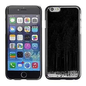Caucho caso de Shell duro de la cubierta de accesorios de protección BY RAYDREAMMM - Apple iPhone 6 Plus 5.5 - Forest Dark Nature Trees Black White