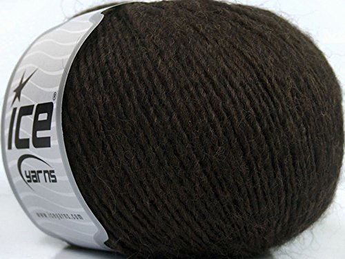 (Peru Alpaca Light DK Yarn - Dark Brown Merino Wool Alpaca Acrylic Blend 50 Gram 191 Yards)