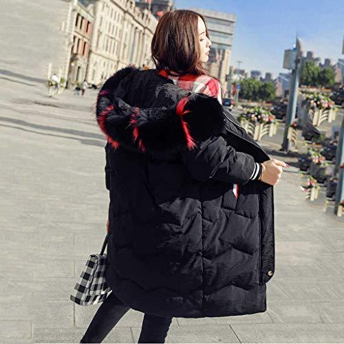 Suelta La Urbana Sxyts Para Versión Invierno Coreana Mujer De Grueso Negro Sección Chaqueta Ropa En Informal Cuello Larga ZwZqY7g