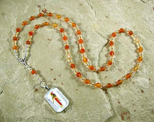 Serqet (Serket) Prayer Bead Necklace in Carnelian: Egyptian Goddess of Healing, Magic, Scorpions and Venomous Beasts ()