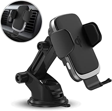 Wireless Car Charger Mount, Qi Certified Fast Charging Automatic Clamping Car Phone Holder with 7.5W 10W, Air Vent Compatible with iPhone Xs MAX XS XR X 8 8 , Samsung Galaxy S10 S10 S9 S9 S8 S8