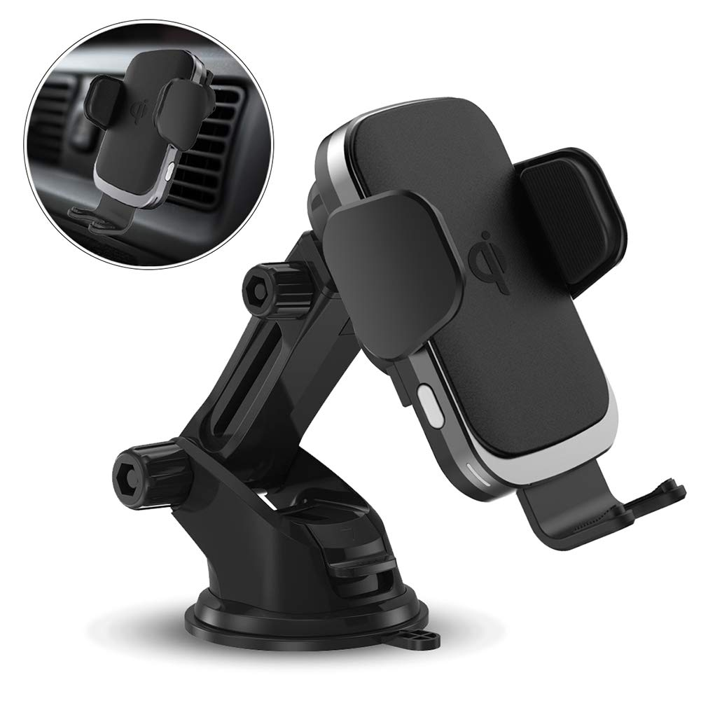 Wireless Car Charger Mount, Qi Certified Fast Charging Automatic Clamping Car Phone Holder with 7.5W/10W, Air Vent Compatible with iPhone Xs MAX/XS/XR/X/8/8+, Samsung Galaxy S10/S10+/S9/S9+/S8/S8+