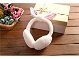 Wesource Earmuff for Outdoor Lovely Rabbit Ear Bow Earmuffs Running Cycling Ski Snow Ear Muffs Headband for Ladies(White)