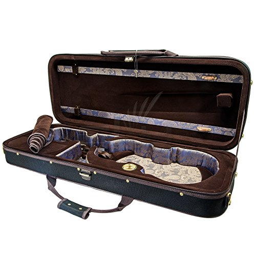 Paititi PTVAQF28 16'' Professional Oblong Shape Lightweight Viola Hard Case with Hygrometer, Black/Brown by Paititi