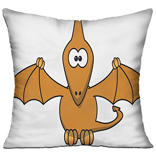 Dino Prehistoric Cartoon Funny Wings Fly Cozy Sofa Pillow 18in X 18in (Including Pillow Inside)