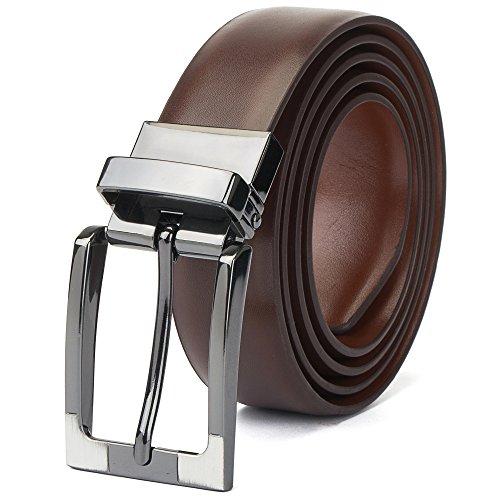"""Tanpie Reversible Belt for Men Dress Belt Leather 1 1/8"""" Wide Rotated Buckle Brown/Tan XL by Tanpie (Image #1)"""