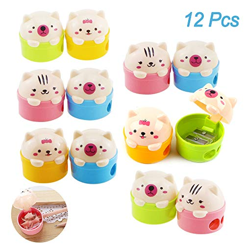 12Pcs Cartoon Animal Pencil Sharpeners, Creatiee Cute Pussy Cat and Bear Two-Holes Pencil Sharpeners|Plastic Pencil Sharpener School Gift Prize for Kids Students (Mixed Colors) -