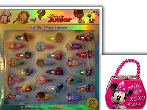 [Adorable 25 Piece Disney Junior Fashion Accessory Bundle: 2 Items Minnie Mouse Tin Pearl Beaded Purse & 24 Piece Minnie & Friends Assorted Hair Clip] (King Triton Costume Ideas)
