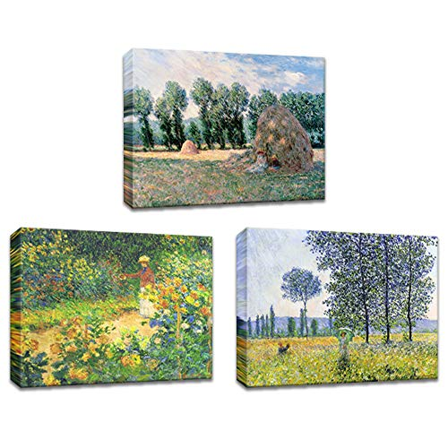(Innopics Haystack Garden Sunlight Poplar 3 Piece Claude Monet's Paintings Printed on Canvas Impressionist Style Field Scenery Wall Art Decor Stretched and Framed for Home Office Living Room Decoration)