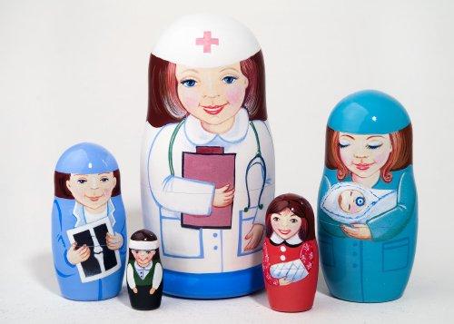 Nurse 5-piece Russian Wood Nesting Doll by Golden Cockerel (Image #1)