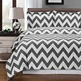 Luxurious Silky Soft 3 Piece Queen Size Chevron Gray and White Reversible Duvet Cover Set, 100% Egyptian Cotton